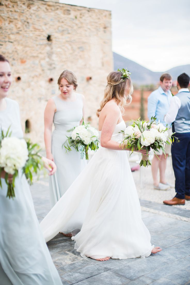 Bride in BHLDN Wedding Dress | Bridesmaids in House of Fraser Dresses | Intimate Outdoor Destination Wedding at Kinsterna Hotel & Spa in Greece | Cecelina Photography