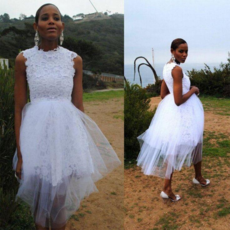 Click To Unique Short White Wedding 2016 Women Lace Tulle Under 100short