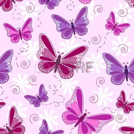 farfalla rosa: Seamless pattern di volo di farfalle in tonalità di rosa e viola, con fiori bianchi su sfondo rosa pallido.
