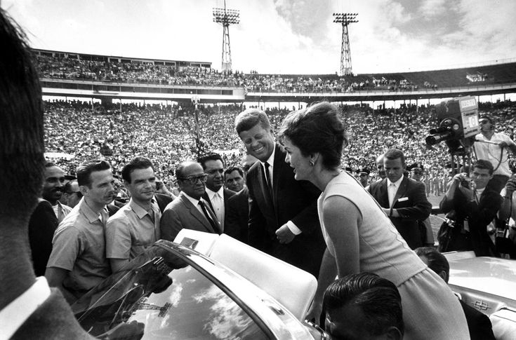 In Miami, Florida, after President Kennedy and Mrs. Kennedy address the 2506 Cuban Invasion Brigade at the Orange Bowl Stadium, Mrs. Kennedy informally speaks with some of the members on December 29th, 1962. (Cecil Stoughton, White House / John F. Kennedy Library)