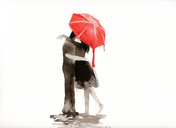 Original watercolor Panting  The Kiss Under The Red by MilkFoam, $40.00