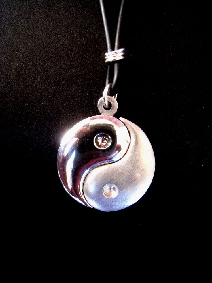 yin yang symbol necklace, separated in two pieces, from solid sterling silver hand carved using the lost wax method. Size: 24mm/0.94 inch.