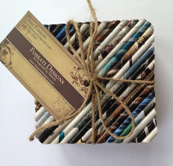 Recycled Magazine Coasters SET OF 4 by FossatiDesigns on Etsy