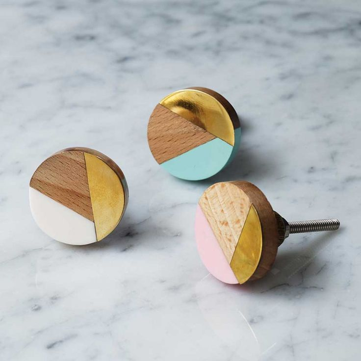 Mixed Media Knobs Wood/Brass/ Resin Round