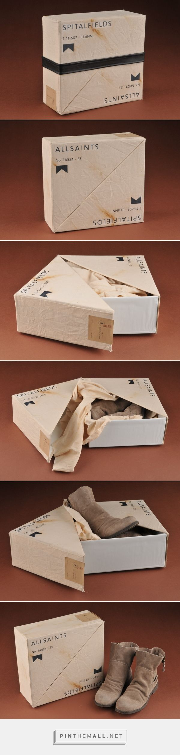 Allsaints Spitalfields shoebox packaging design. I love the diagonal design and how cute are these shoes!!
