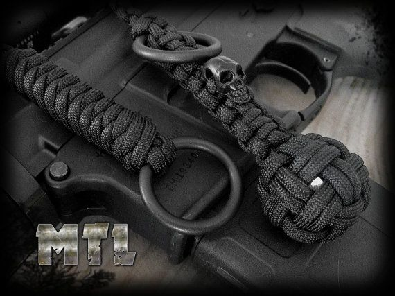 Paracord Self Defense Lanyard (known as monkey fist) featuring steel ball  and metal skull bead w  welded rings  00261a61ac45