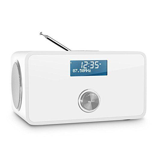 auna DABStep - Radio numérique avec tuner DAB, DAB+, FM et Bluetooth (fonction alarme, entrée AUX, télécommande) - blanc