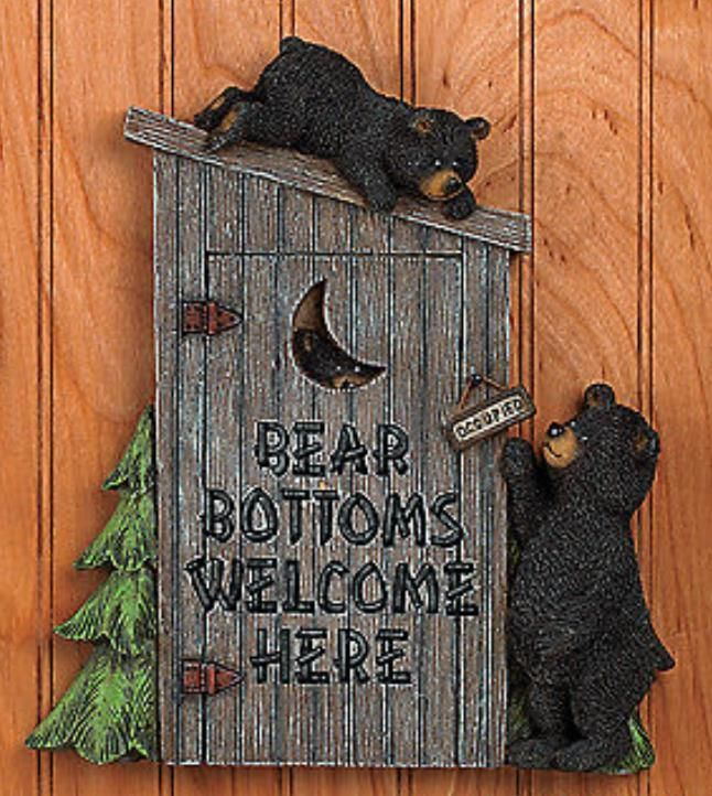 home interior bears black outhouse wall plaque bathroom home decor accent 12179