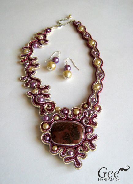 """Soutache set """"The field of thymes"""""""