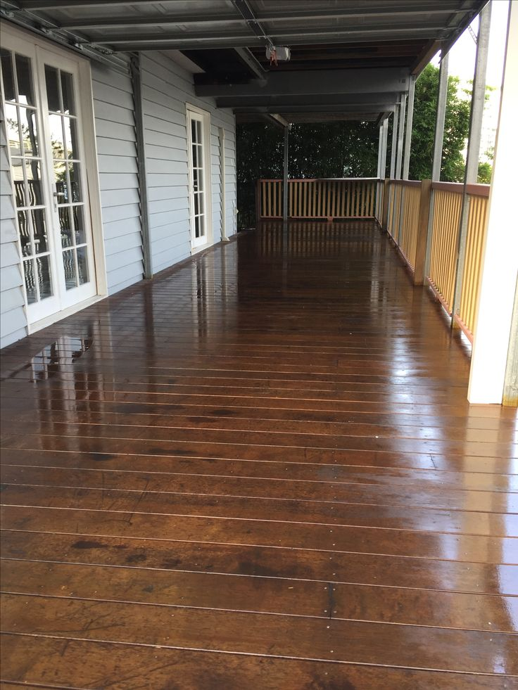The finished look if a timber deck by the team at Waterworx Pressure Cleaning Brisbane,