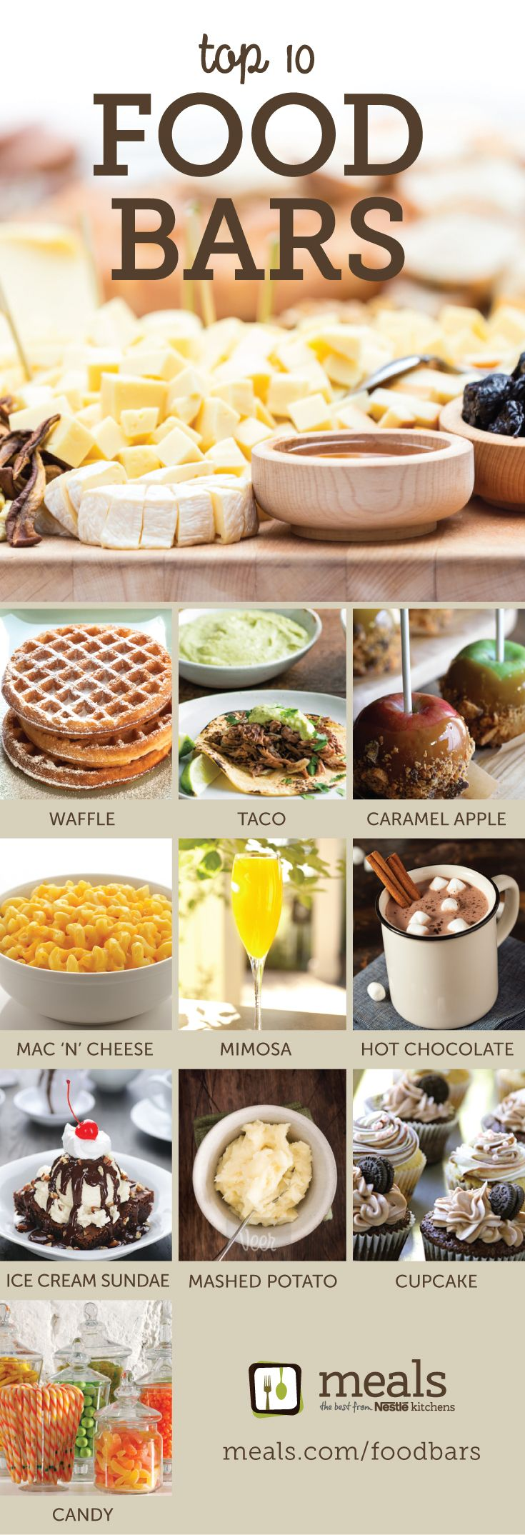 Top 10 Food Bars   Meals.com - Top 10 Food Bars are here for the holidays - and beyond! From Taco or Mac & Cheese bars to Mimosa or Hot Chocolate buffets, the best bases and tastiest toppings await for your entertaining or everyday enjoyment.Why settle for a one-size-fits-all meal when you can offer a variety to please every palate?! #foodbars #partyideas #tacobar #potatobar #mimosabar