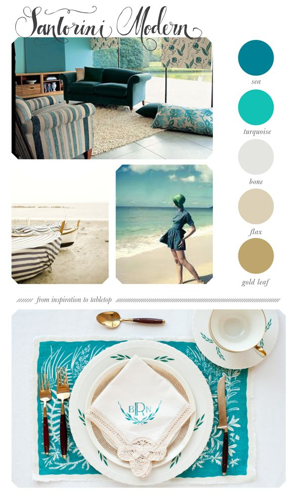turquoise tabletop inspiration .. Love these colors