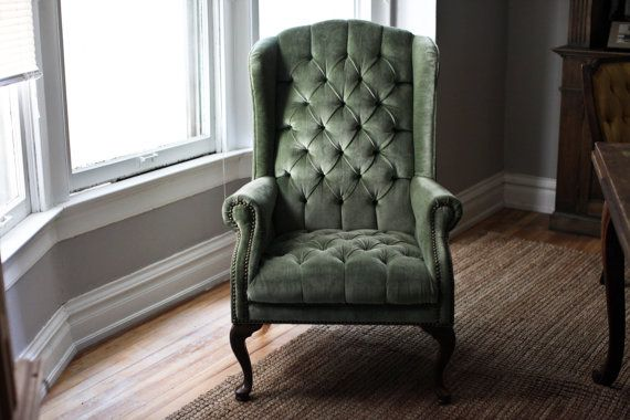 Mint Green Velvet Tufted Wingback Chair by TheFeelingofHome, $398.00