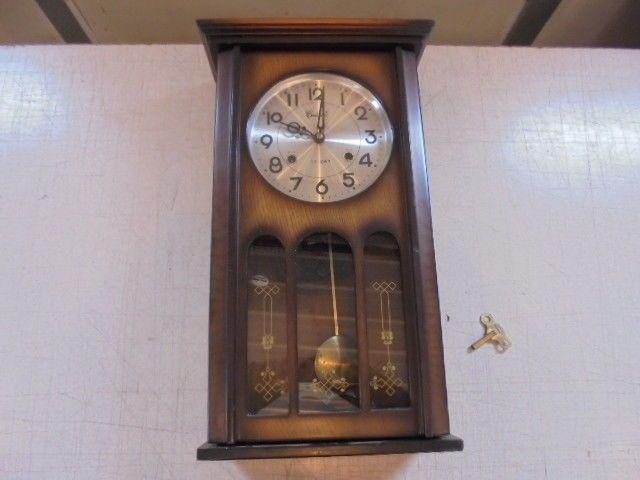 Vintage Centurion 35 Day Wood Wall Clock W Key Pendulum Works Wood Wall Clock Wall Clock Clock