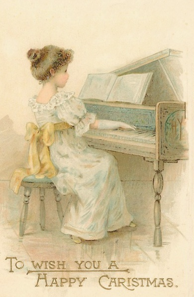 Christmas ~ A girl plays the piano in this 1902 Raphael Tuck & Sons Christmas postcard.