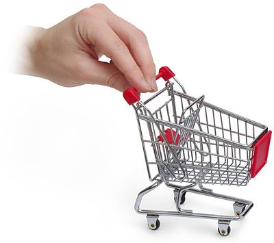ThinkGeek :: Mini Shopping Cart Desktop Organizer