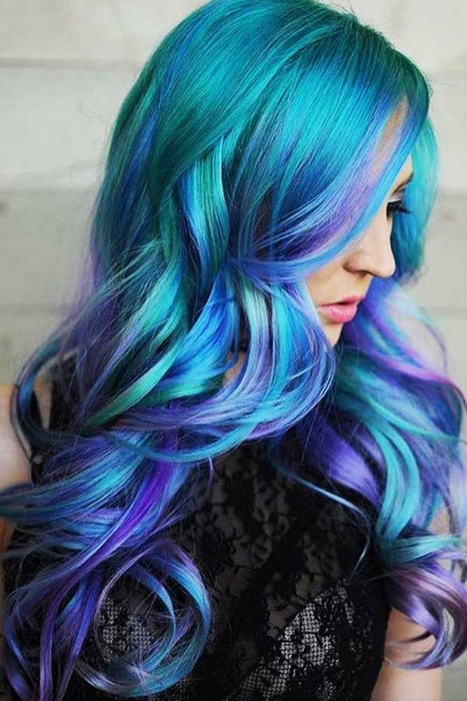 Galaxy Blue and Purple Balayage ❤️ If you have completely fallen in love wit...