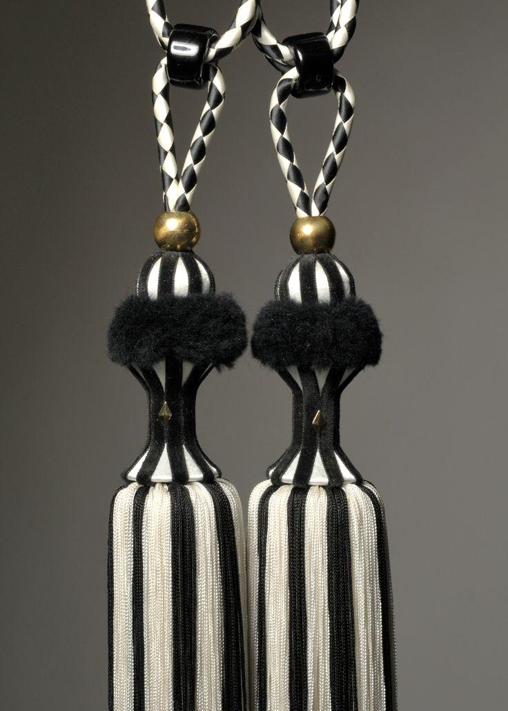 Black and ivory monochrome tassel tieback by Monika de Silva www.mdsdesigns.co.uk