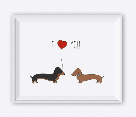 Dachshund Love Art Print. I Love You Dog Wall by CharmArtStudio