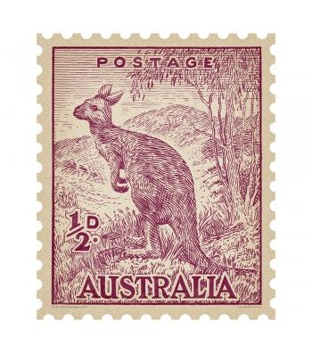 Kangaroo in Berry - Quercus & Co. Iconic 1930's Australian postage stamp re-drawn in crayon and printed onto self-adhesive, repositional fabric.