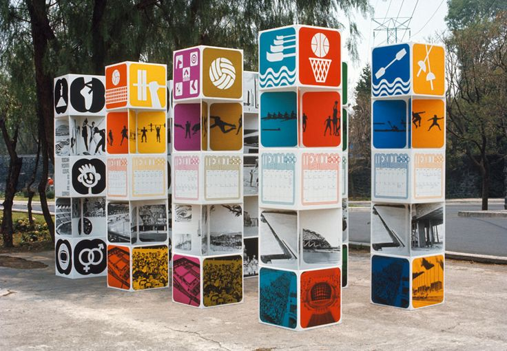 MEXICO 68 Exhibition stands – the forms of these towers is inspired by the Toltec warrior statues in Tula, Hidalgo