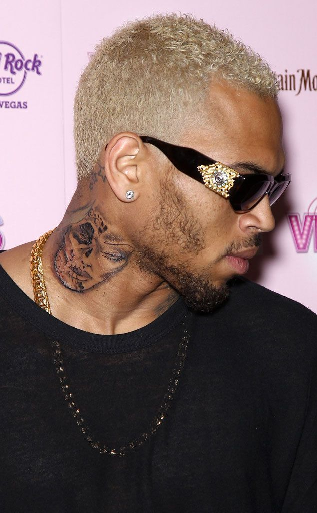 8. Chris Brown's Neck With a Face On It from Top 10 Celebrity Tattoos of 2012   E! Online
