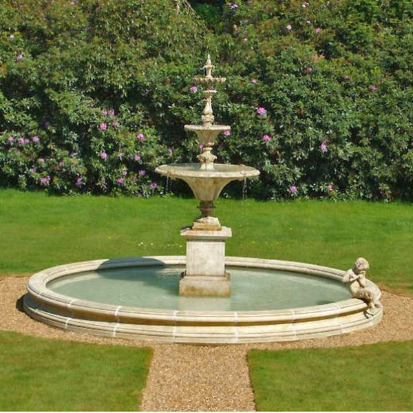 3 Tier Garden Stone Fountain With 320cm Circular Surround
