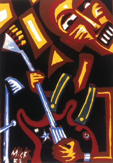 Congolese Guitarist Bavon Marie-Marie  Screenprint by Mike Hawthorne 1983