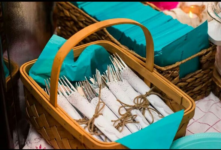 How we set up the untensils #twine #doilies #bow #country #rustic #wedding