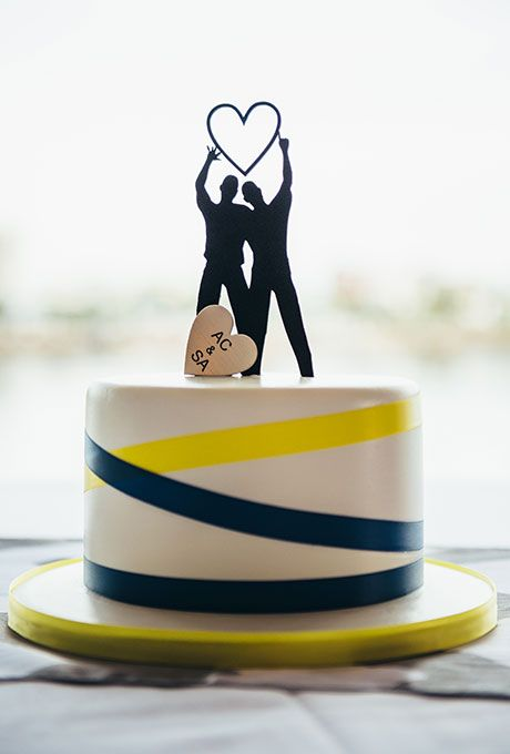 Brides.com: 15 Same-Sex Wedding Cake Topper Ideas A Friends-inspired laser-cut topper by Jodi Wentz of Chicago Factory.Photo: Courtesy of Chicago Factory