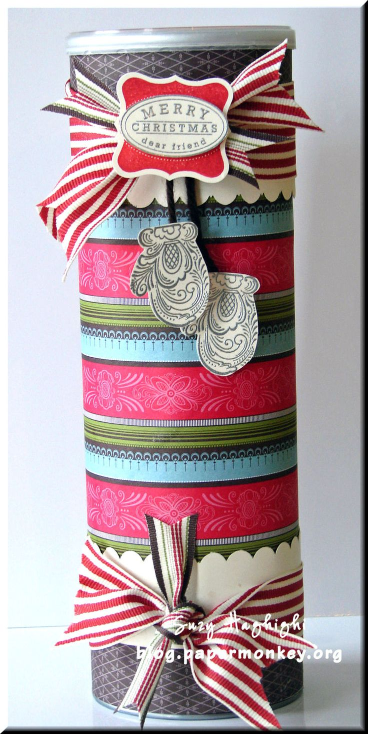 Another decorated Pringles container for cookie gifts.