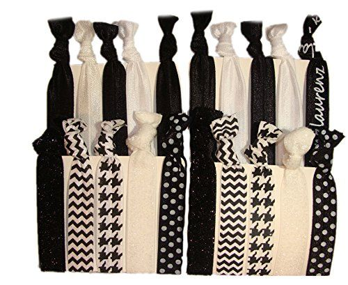 """Hair Ties Ponytail Holders - 20 Pack """"Elevated"""" Black White Houndstooth Glitter No Crease Ouchless Elastic Styling Accessories Pony Tail Elastics Holder Ribbon Bands - By Kenz Laurenz Kenz Laurenz http://www.amazon.com/dp/B00PWUJEK0/ref=cm_sw_r_pi_dp_IKl5wb0MNCWP2"""