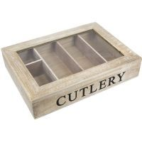 Gisela Graham Wooden Cutlery Storage Box Storage Tray Organiser With Lid  Shabby Chic