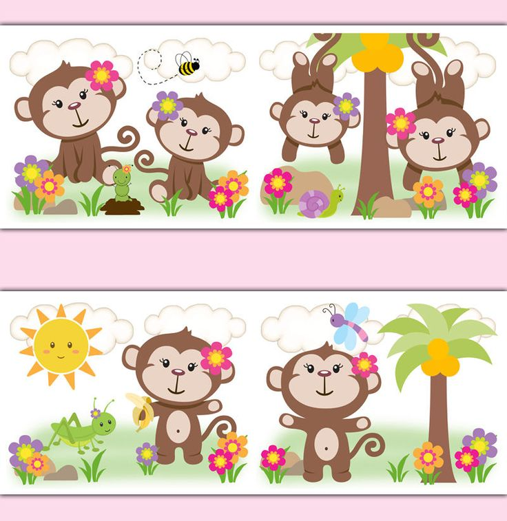 girl nursery decor monkey wallpaper border decals safari animals art stickers handmade. Interior Design Ideas. Home Design Ideas