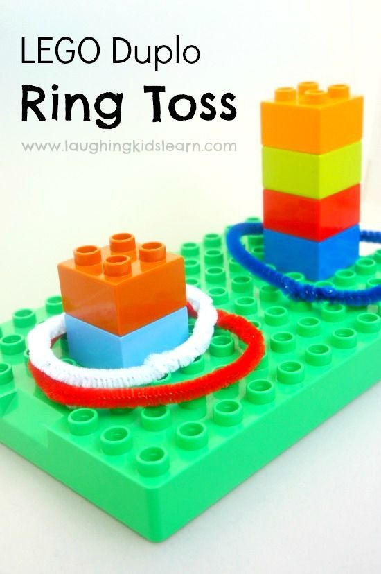 LEGO DUPLO Ring Toss game for kids of all ages. Fun way to play and use LEGO and pipe cleaners.