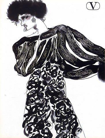 Valentino 1984 Fashion Illustrations, Tony Viramontes