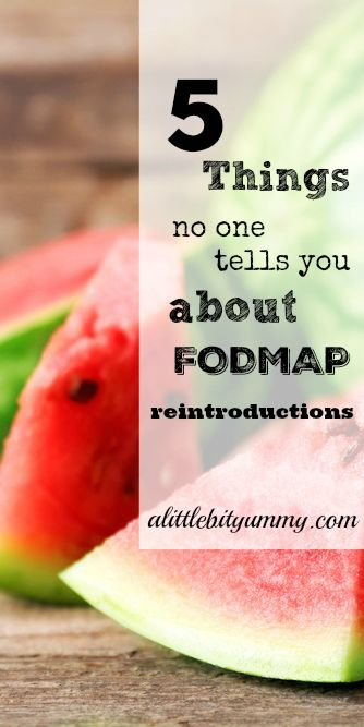 Reintroducing high FODMAP foods can be a challenging time and it's easy to miss important information. Check out the pin to discover 5 things no one tells you about FODMAP reintroductions. More information about the FODMAP Reintroduction Phase on alittlebityummy.com