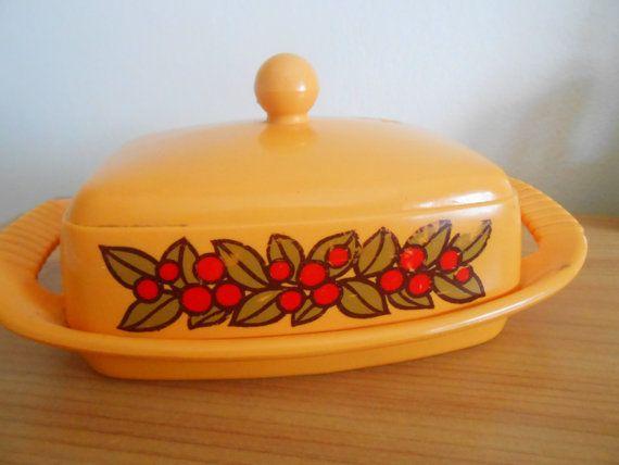 Floral EMSA Plastic Butterdish- Orange Midcentury Kitchen Tableware - West German 1970s Mod Flower Power Butter Dish Container