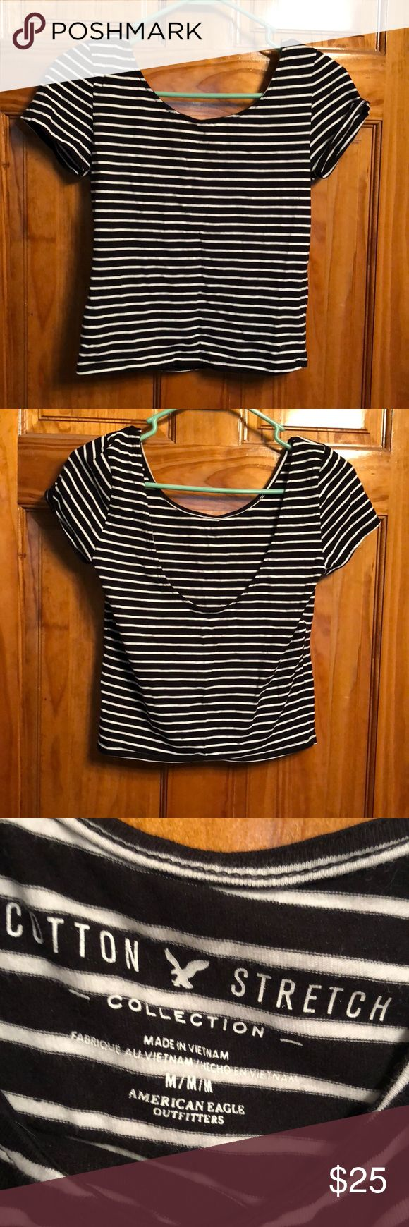 BLACK AND WHITE STRIPPED BALLERINA TOP Black and white stripes—low back—worn once—cotton stretch—size medium American Eagle Outfitters Tops Tees - Short Sleeve
