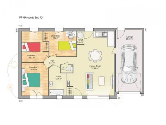 Modèle de maison Open Nord PP GA accès Sud 73 so chic : Photo 1