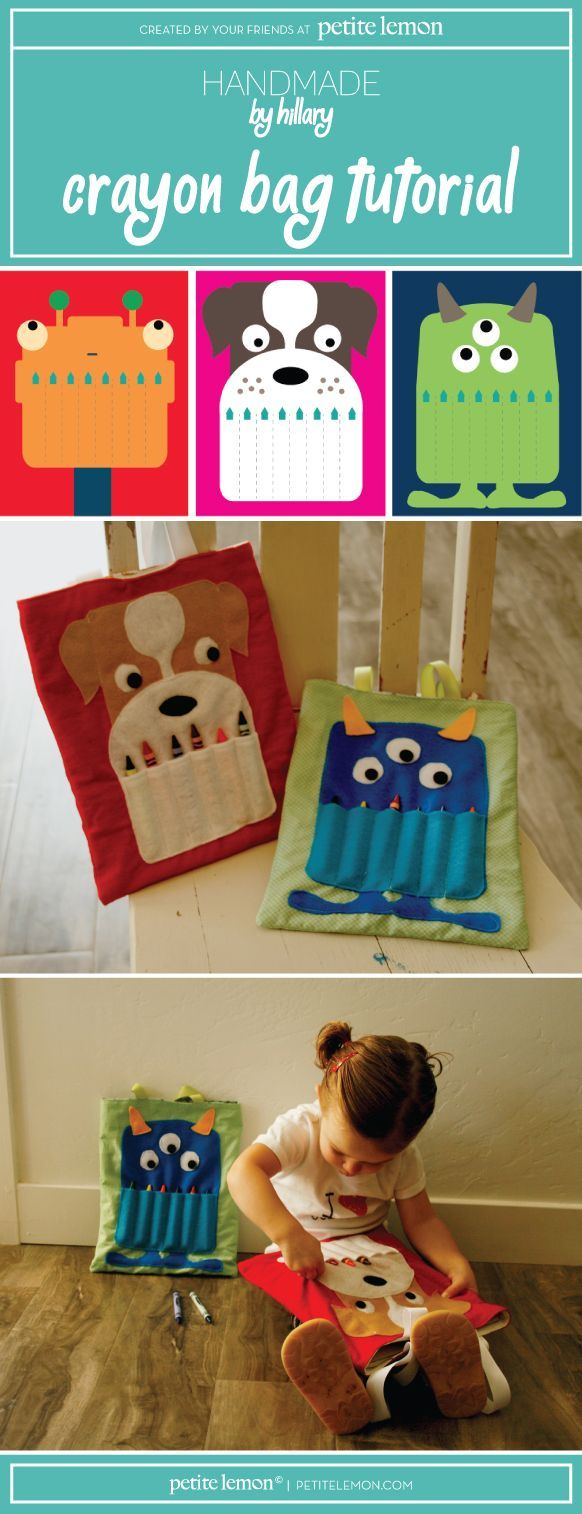 Handmade by Hillary for Petite Lemon: DIY Crayon Bag Tutorial including a bull dog, monster and robot free template