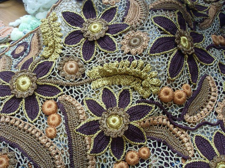 Irish Crochet. Motifs. Freeform ideas. Цветочные мотивы ирландского кружева, фриформ и идеи. Бурдон. Гусеничка. Irish Crochet bourdon.