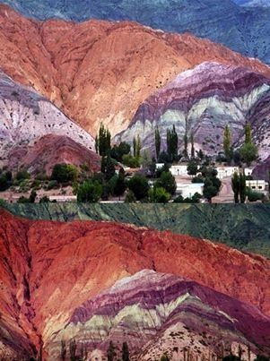 Humahuaca, AR, Mtns of Hornocal (Hill of Seven Colors), part of the limestone…