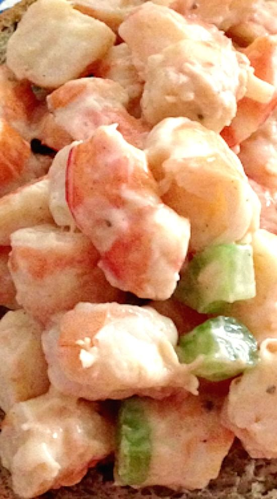 A simply dressed shrimp salad that allows you to really taste the sweet shrimp