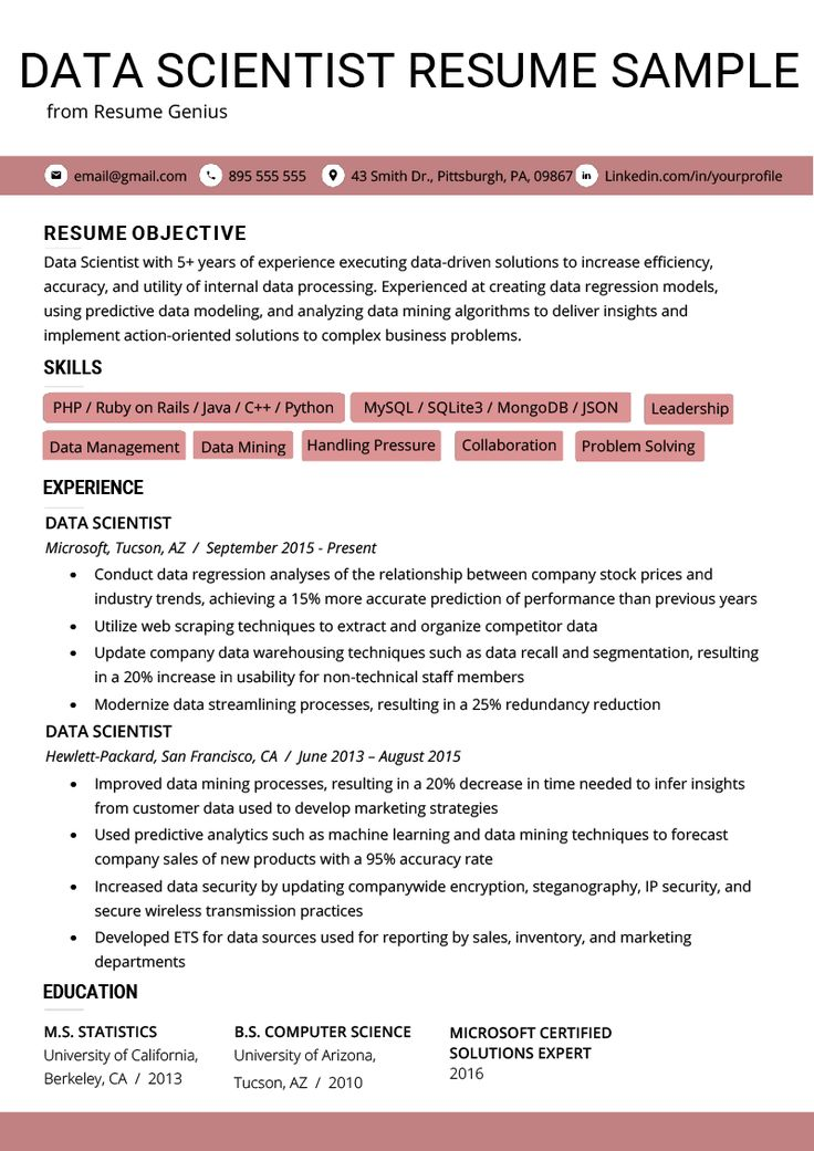 data scientist resume example  writing tips  data
