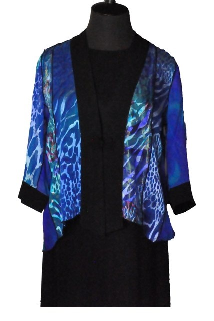 Silk Kimono Jacket with Black Trim  $129