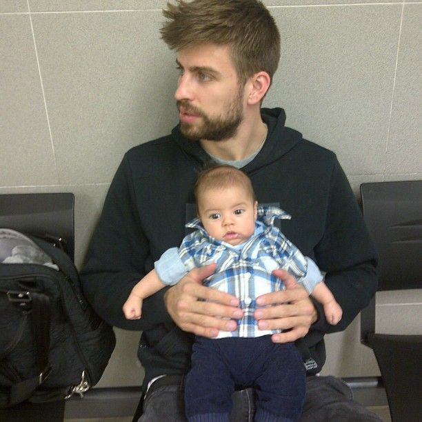 From Shakira's Instagram: Daddy and son waiting for Milans passport!