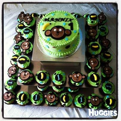 Mannix's First Birthday Cake with a cheeky monkeys theme and banana flavour! was a hit with the kids aand adults alike!