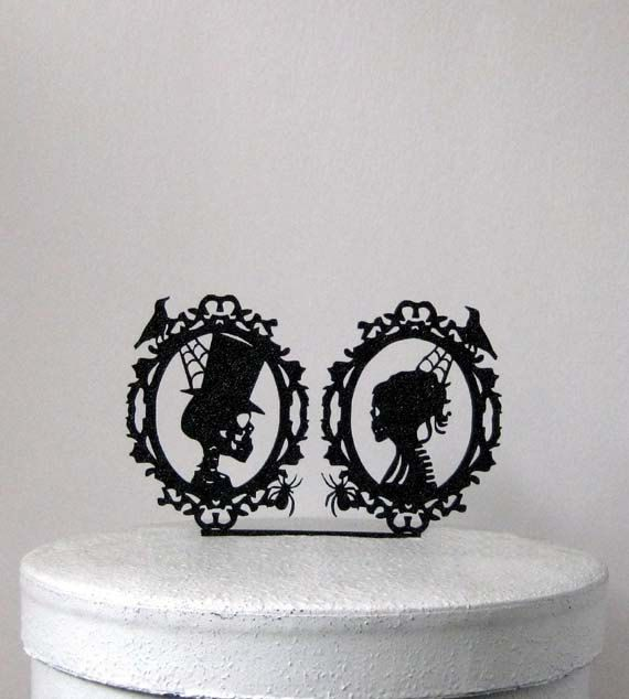 Wedding Cake Topper - Halloween Wedding Cake Topper, Skeleton Cameo Wedding Cake Topper