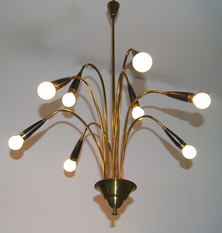 Double tier sputnik or spider chandelier in brass & black metal